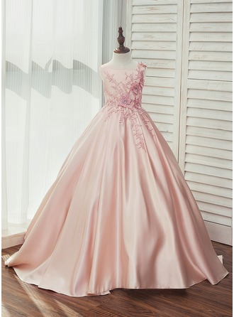 Ball Gown Sweep Train Flower Girl Dress - Satin/Lace Sleeveless Square Neckline With Rhinestone