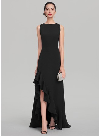 A-Line/Princess Scoop Neck Asymmetrical Satin Evening Dress With Cascading Ruffles