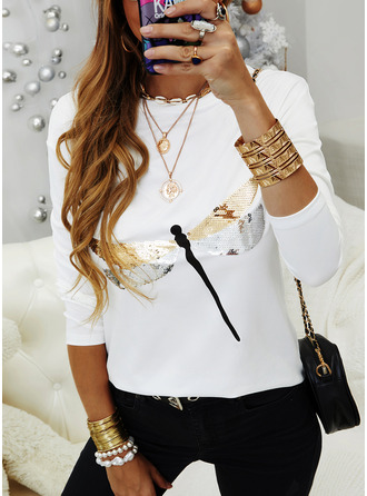 Animal Print Sequins Round Neck Long Sleeves Casual T-shirt