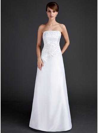Sheath/Column Strapless Floor-Length Taffeta Evening Dress With Appliques Lace