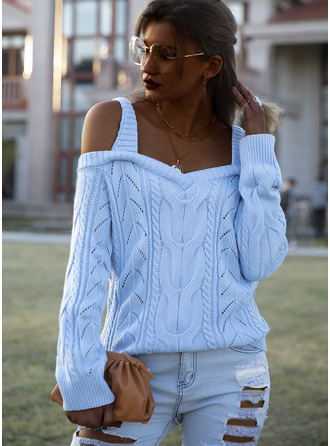 Cold Shoulder Casual Solid Cable-knit Sweaters