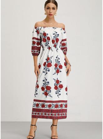 Floral Print Shift 1/2 Sleeves Long Sleeves Maxi Boho Dresses