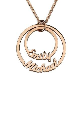 Individualisiert Damen heißeste Vergoldet/Versilbert/Platin überzogen mit Runde Name Halsketten Ihr/Braut