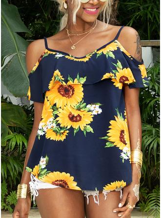 Sunflower Print Short Sleeves Polyester Spaghetti Straps Blouses