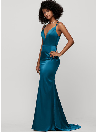 Trumpet/Mermaid V-neck Sweep Train silk like satin Evening Dress