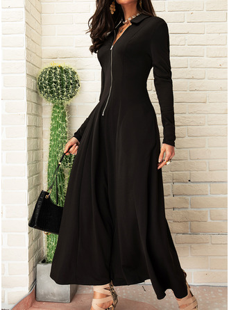 Solid A-line Long Sleeves Maxi Little Black Elegant Skater Dresses