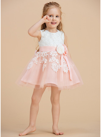 A-Line Knee-length Flower Girl Dress - Tulle/Lace Sleeveless Scoop Neck With Beading/Flower(s)/Bow(s)