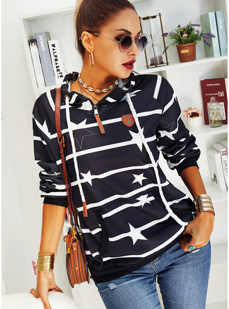 Print Striped Long Sleeves Hoodie (1001255225)