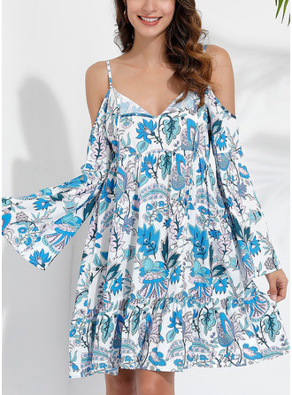 Floral Print A-line Cold Shoulder Sleeve Flare Sleeve Long Sleeves Midi Casual Sexy Vacation Skater Dresses