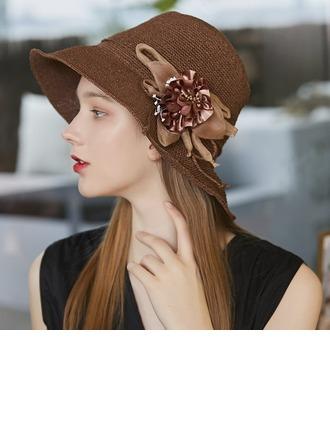 Ladies' Exquisite/Hottest Raffia Straw/Silk Flower With Silk Flower Beach/Sun Hats/Tea Party Hats