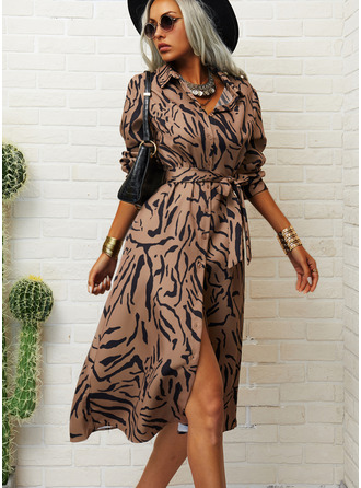 Print A-line Long Sleeves Midi Casual Shirt Skater Dresses