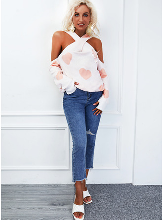 Cold Shoulder Casual Print Heart Sweaters