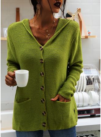 Hooded Casual Solid Chunky knit Pocket Sweaters