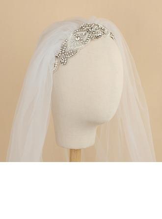 One-tier Cut Edge Elbow Bridal Veils With Rhinestones