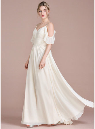A-Line/Princess Floor-Length Chiffon Wedding Dress With Cascading Ruffles