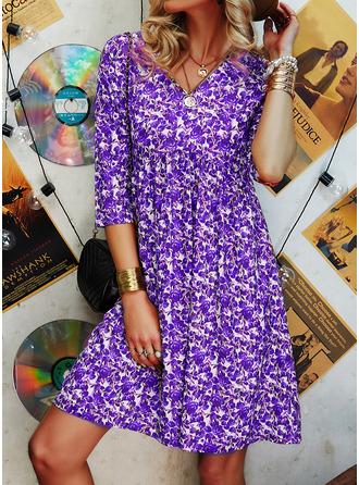 Kwiatowy Nadruk Suknie shift Długie rękawy Mini Nieformalny Elegancki Tunika Modne Suknie