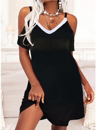 Color Block Shift Short Sleeves Mini Casual Vacation Dresses