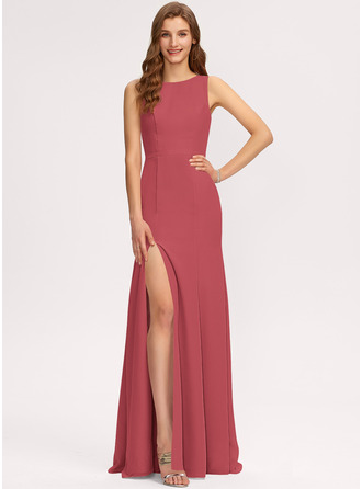 Sheath/Column Scoop Neck Floor-Length Chiffon Evening Dress With Split Front