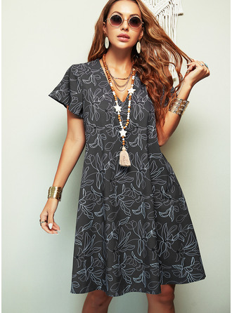 Floral Print Shift Short Sleeves Midi Casual T-shirt Dresses