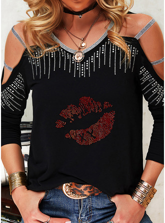 Print Sequins Cold Shoulder Long Sleeves Casual Sexy Blouses (1003255053)