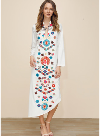Floral Print Shift Long Sleeves Maxi Casual Vacation Tunic Dresses