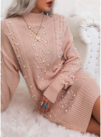 Solid Cable-knit Beaded Long Sleeves Casual Long Sweater Dress Dresses