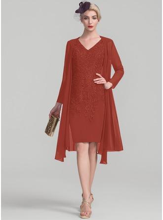 Платье-чехол V-образный Длина до колен Кружева Платье Для Матери Невесты