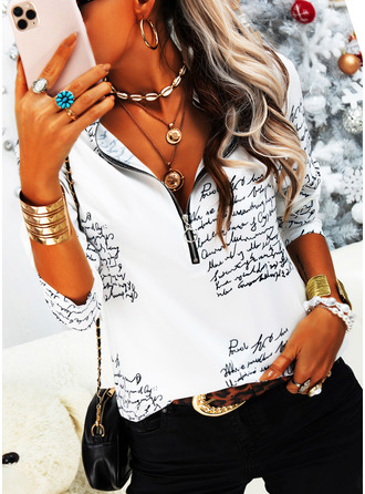 Figure Print V-Neck Long Sleeves Casual Blouses