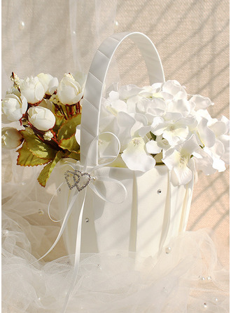 Flower Girl Satin Flower Basket With Ribbon