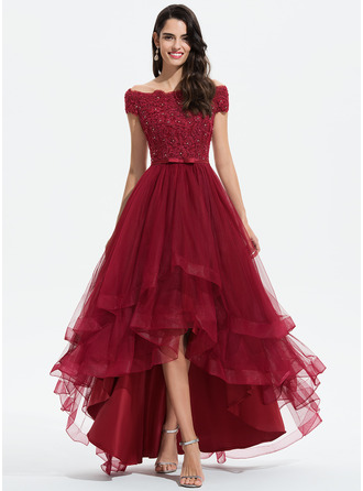 Off the Shoulder Burgundy Tulle Lace Tulle Dresses