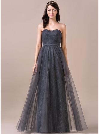 A-Linie/Princess-Linie Herzausschnitt Bodenlang Tüll Spitze Brautjungfernkleid mit Rüschen