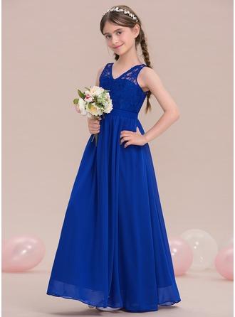 A-Linie/Princess-Linie V-Ausschnitt Bodenlang Chiffon Kleid für junge Brautjungfern