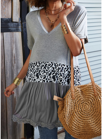 Leopard Color Block V-Neck Short Sleeves Casual Blouses