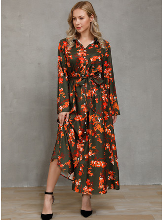 Floral Print A-line Long Sleeves Midi Casual Shirt Dresses