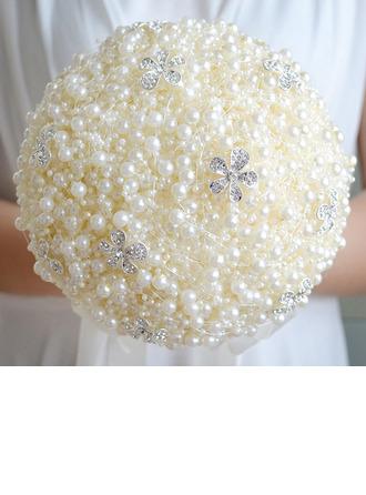Yksinkertainen ja tyylikäs Pyöreä Jäljitelmä Helmi Morsiamen kukkakimppuihin - Morsiamen kukkakimppuihin