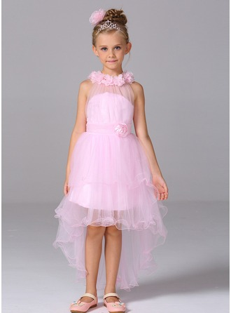 Forme Princesse Asymétrique Robes à Fleurs pour Filles - Tulle Sans manches col haut avec Fleur(s)
