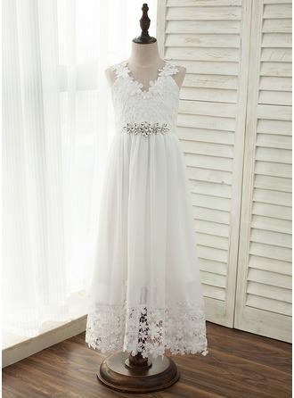 A-Line/Princess Floor-length Flower Girl Dress - Chiffon/Lace Sleeveless V-neck With Lace/Rhinestone