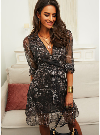 Floral Print A-line Long Sleeves Mini Casual Skater Wrap Dresses