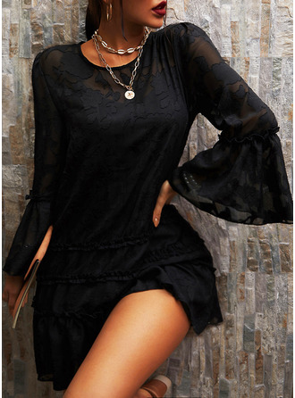 Lace Solid Shift Flare Sleeve Long Sleeves Mini Little Black Elegant Dresses