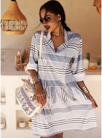 Print Striped Shift Long Sleeves Midi Casual Tunic Dresses