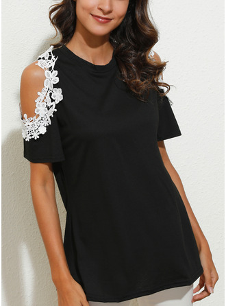 Lace Patchwork Cold Shoulder Short Sleeves Casual