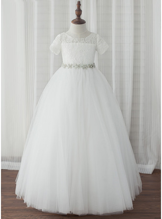 Ball Gown Ankle-length Flower Girl Dress - Tulle/Lace Short Sleeves Scoop Neck With Rhinestone