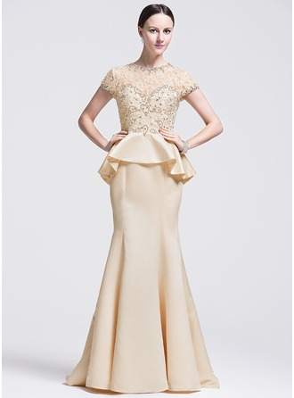 Trumpet/Mermaid Scoop Neck Sweep Train Satin Evening Dress With Beading Sequins Cascading Ruffles