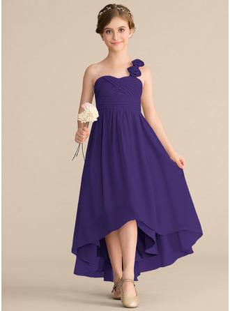 A-Line One-Shoulder Asymmetrical Chiffon Junior Bridesmaid Dress With Ruffle Flower(s) Bow(s)
