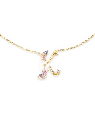 Custom 18k Gold Plated Silver Letter Initial Necklace - Valentines Gifts