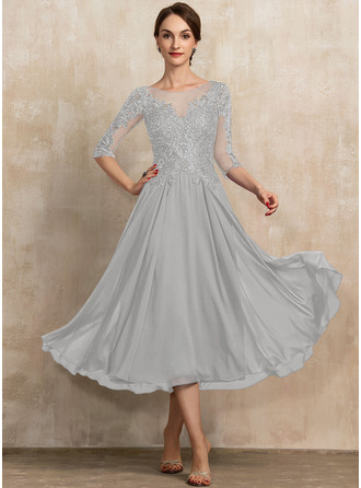 A-Linie U-Ausschnitt Wadenlang Chiffon Spitze Kleid für die Brautmutter mit Pailletten