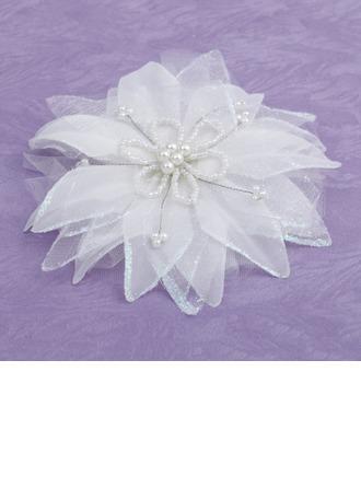Elegante Seda artificiales Flores y plumas con Perla Veneciano