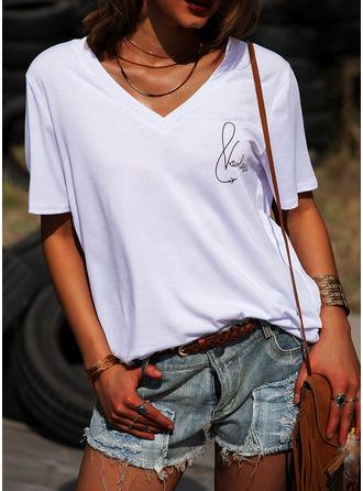 Print V-Neck Short Sleeves Casual T-shirt