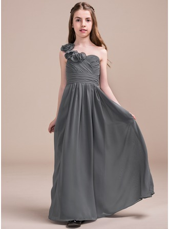 A-Line/Princess Floor-length Flower Girl Dress - Chiffon Sleeveless One-Shoulder With Ruffles/Flower(s)