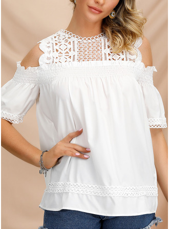 Lace Cold Shoulder 1/2 Sleeves Casual Elegant